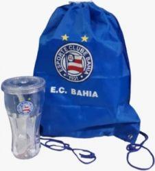 Kit copo de plástico com canudo e mochila saco.